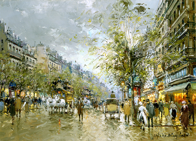 Boulevard des Capucines by Antoine Blanchard - 13 x 18 inches Signed french paris street scenes impressionist street scenes school of paris