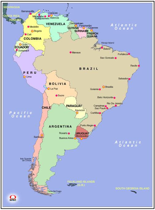 南アメリカ地図日本語英語 South America Map