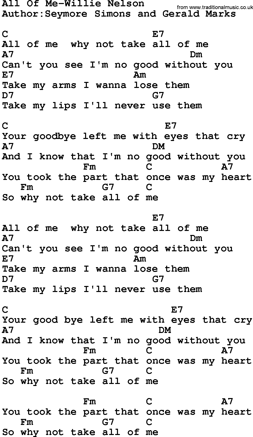 all of me chords - HD 1008×1739