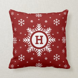 Custom Monogram Christmas Snowflake pillow