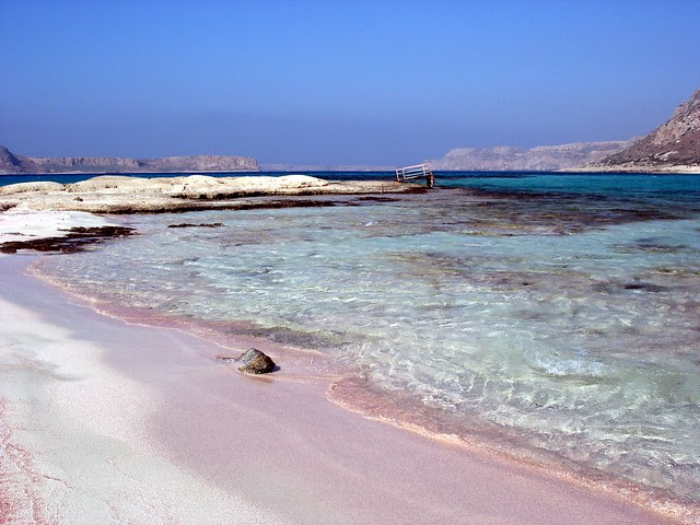 Pink sand in Balos