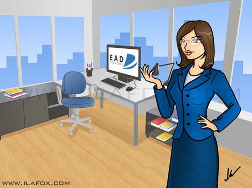 Ilustração escritório com executiva EAD soluções by ila fox