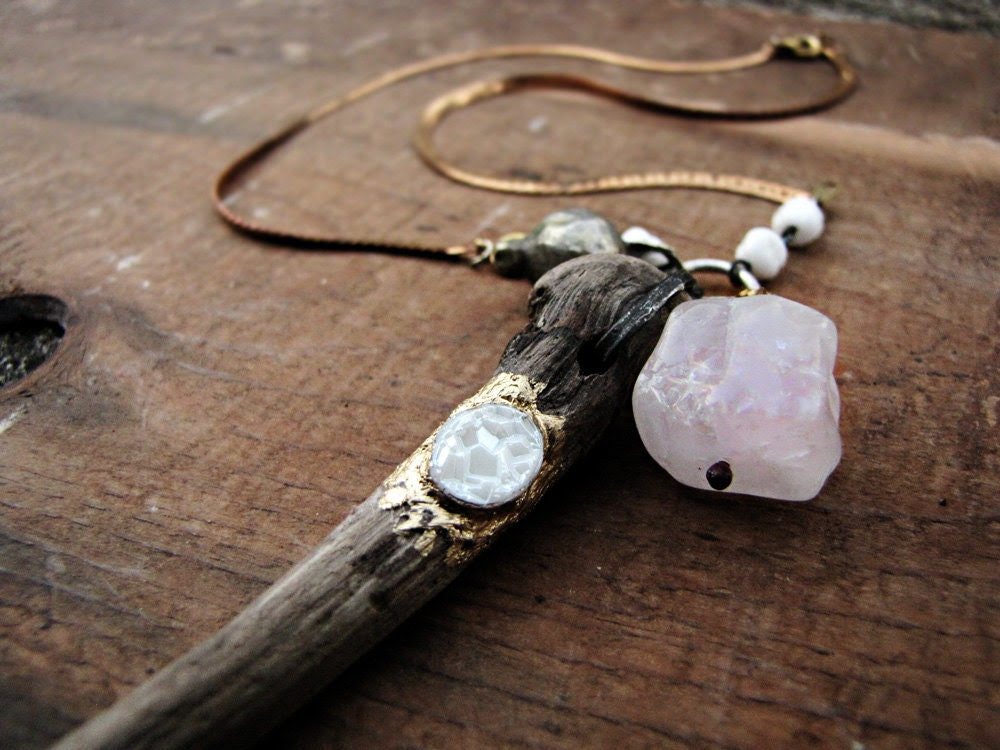 Totemic - salvage tribal necklace - carved driftwood - rose quartz - tribal sci fi