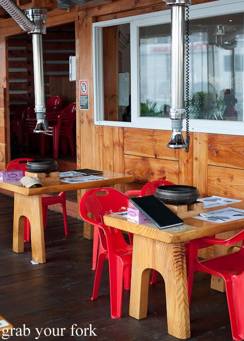 Balcony dining area at Wagyu House, Croydon