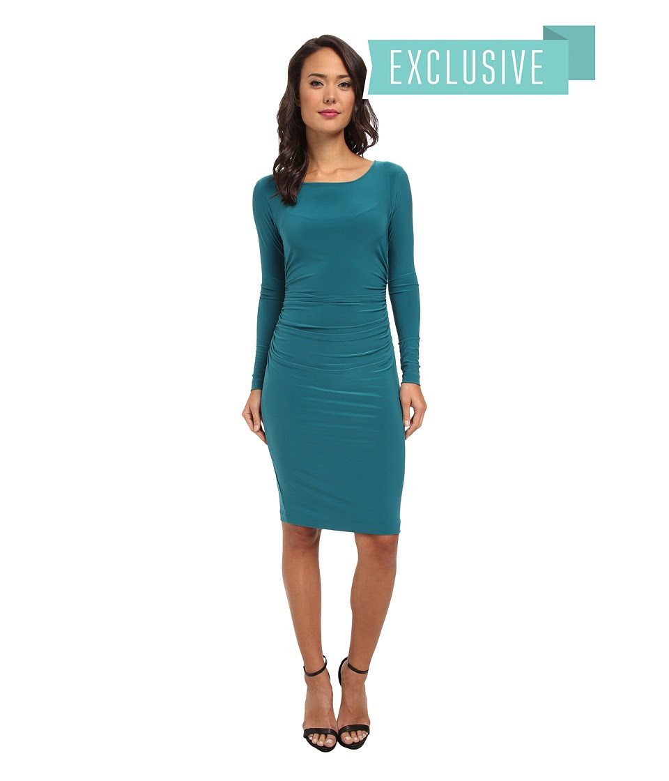 KAMALIKULTURE by Norma Kamali - L\/S Shirred Waist Dress (Teal) Women's Dress