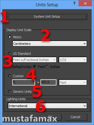Units Setup لتغير نوع الوحدات القياسية المستخدمة في برنامج 3ds max 2014