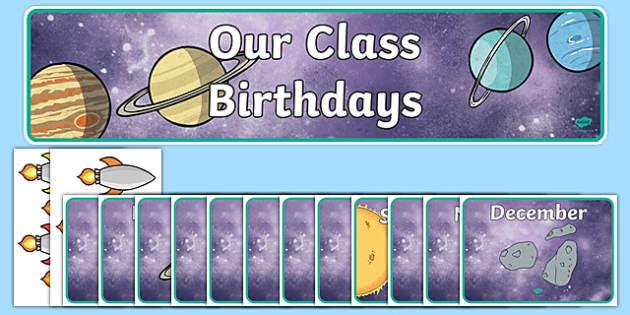 Editable Birthday Display Set (Space) - Birthday set, birthday