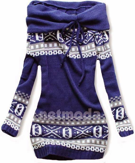 Blue & White Norwegian Style Sweater