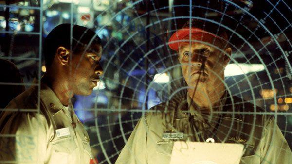 Denzel Washington and Gene Hackman star in the 1995 military thriller, CRIMSON TIDE.