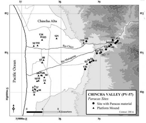 Distribution of archaeological sites linked to Paracas period settlement in Chincha, Peru. Redrawn from Canziani. Credit: (c) Charles Stanish, PNAS, 2014. doi: 10.1073/pnas. 1406501111. Image Courtesy of Phys.Org.