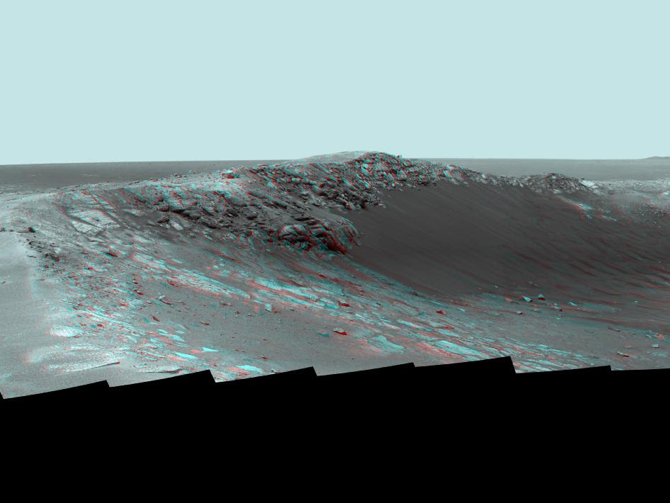 Stereo Panorama of 'Santa Maria' Crater for Opportunity's Anniversary