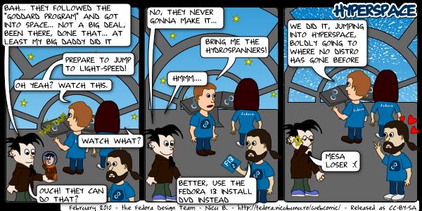 [fedora webcomic: hyperspace]