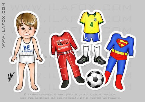 Lembrancinha original, imã, esta infantil, lembrancinha de trocar roupinha, carros, uniforme do Brasil, Super Homem, by ila fox
