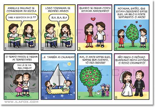Convite em tirinhas, em quadrinhos, personalizado, noivas, história dos noivos Paulo e Angela, Santa cruz do Rio Pardo - SP, by Ila Fox