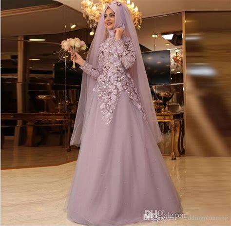 2017 Muslim Long Sleeves Hijab Prom Dresses High Neck