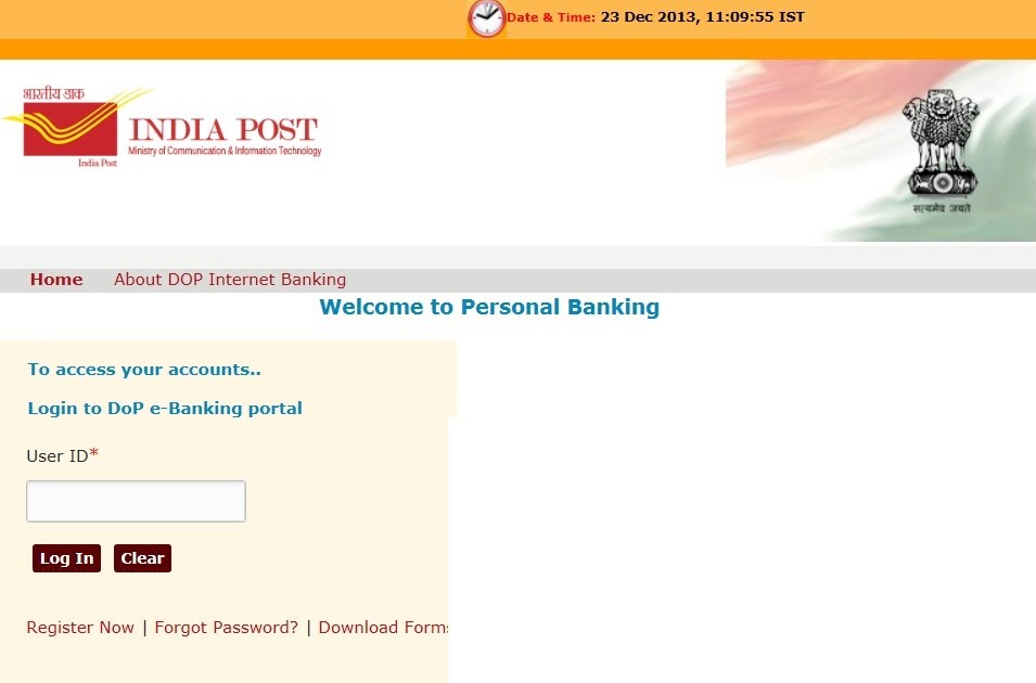 System administrators indiapost indiapost started internet banking - Internet banking post office ...