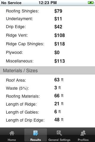 iphone roof calc results