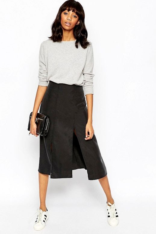 Le Fashion Blog Must Have Summer Style Under $50 Sweatshirt Black Spliced Midi Skirt Clutch Sneakers Via ASOS