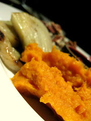 First course sampler: warm yams with maple, grilled fennel