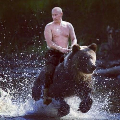 Putin cabalgando su oso