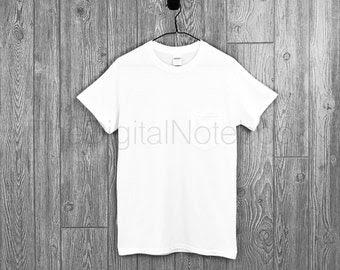Download Instant Download • Gildan White G530 Unisex Pocket T-Shirt ...