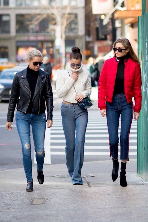 Le Fashion Blog Gigi Hadid Bella Hadid Yolanda Foster Jeans Puffer Jackets Leather Jacket Via Vogue