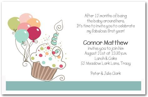 Boy's Cupcake & Balloons Birthday Invitation, Cupcake