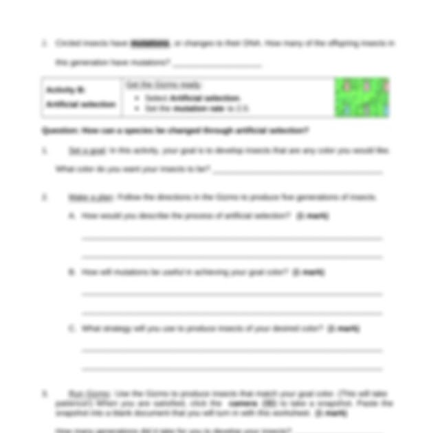 Natural And Artificial Selection Gizmo Answer Key Pdf ...