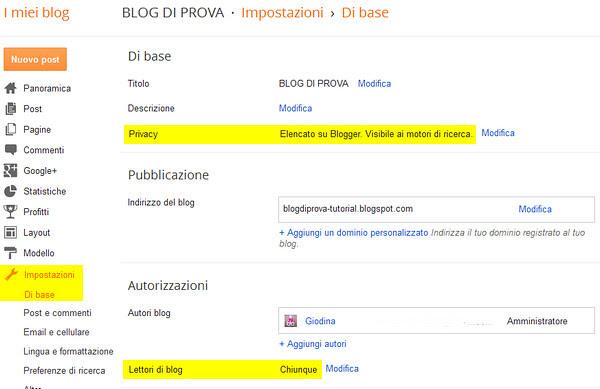 5_IMPOSTAZIONI_BASE, Come aprire un blog in Blogger