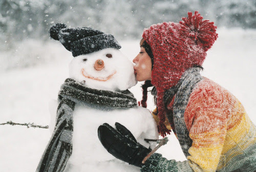 christmas, cute, girl, kissing, love
