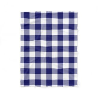 Navy and White Gingham Pattern Fleece Blanket