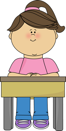 Girl Sitting at School Desk