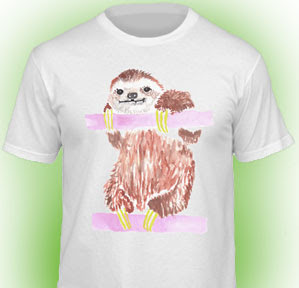 Fun sloth tee designed by Todd Selby for American Apparel