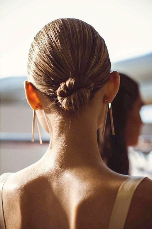 Sleek Low Bun Hairstyle Ballerina Hair Statement Earrings Sara Robertson Greta Gram SS17 Le Fashion Blog