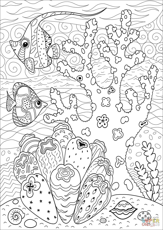 Butterflyfish Enjoying Coral Reef coloring page | Free ...