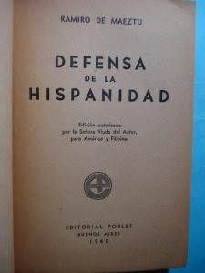 """Portada de """"Defensa de la hispanidad"""", de Maeztu, en una edición de Poblet (Buenos Aires, 1945) para América y Filipinas."""