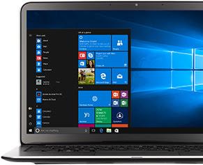Immagine di un laptop Windows aperto con un menu di applicazioni. Scarica l'app Suggerimenti Microsoft.