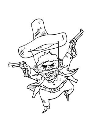 Ausmalbilder Schiessw\u00fctiger Cowboy Cowboys Malvorlagen