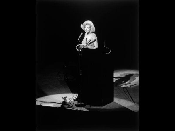 Monroe singing Happy Birthday at the Democratic rally for President John F. Kennedy.