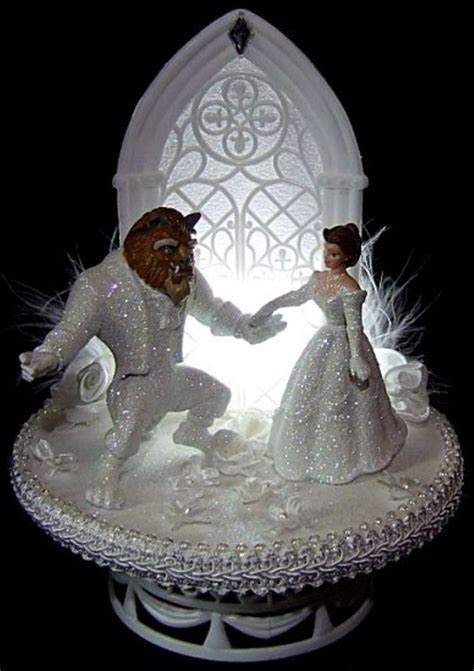 Lighted Beauty and the Beast Wedding Cake Topper