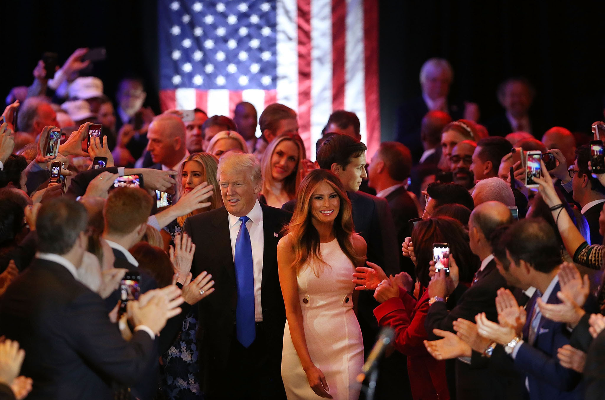 Republican presidential candidate Donald Trump and his wife Melania Trump arrive to speak to supporters at Trump Tower in Manhattan following his victory in the Indiana primary