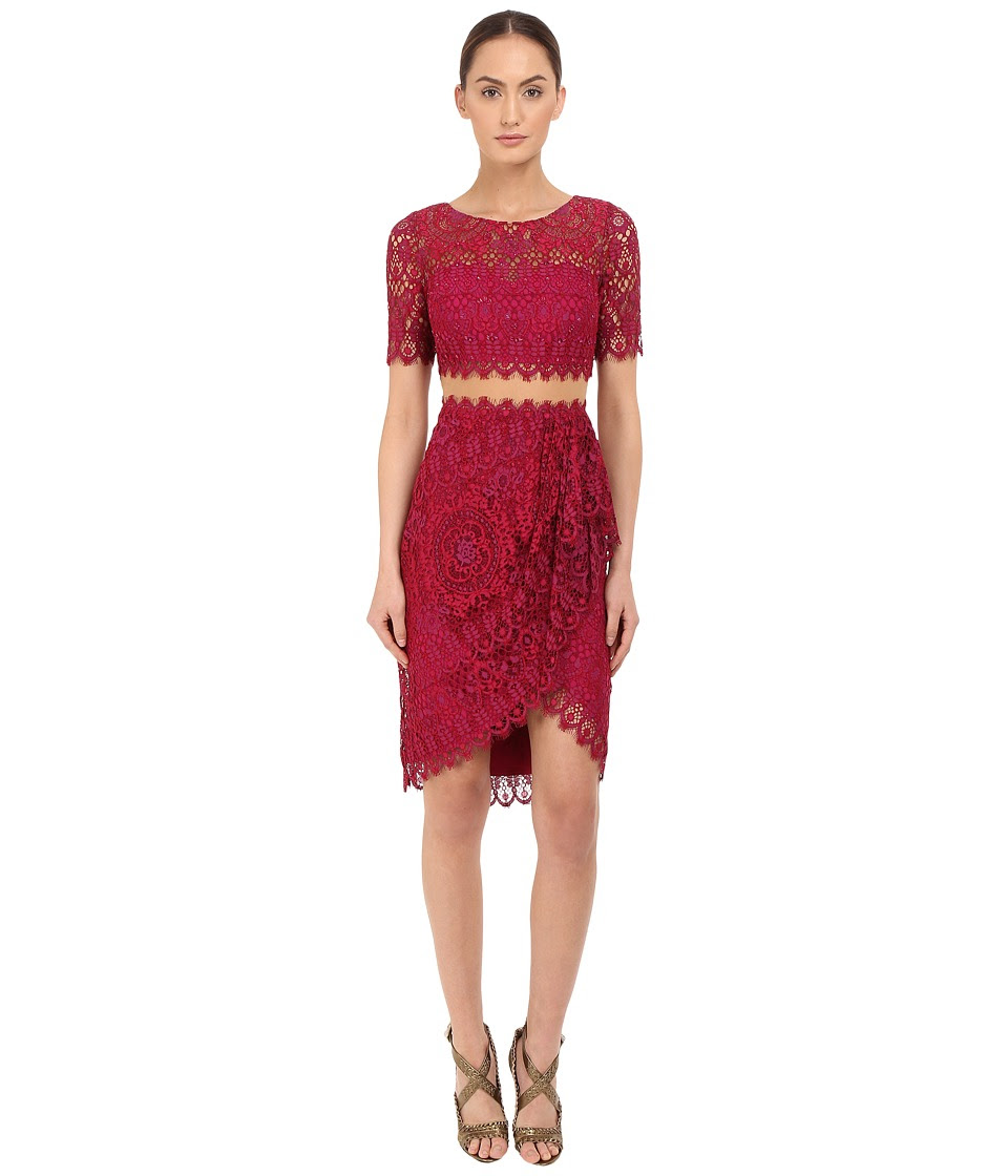 Marchesa Notte - Short Sleeve Re-Embroidered Lace Cocktail with Draped Skirt and Sheer Waist (Magenta) Women's Dress