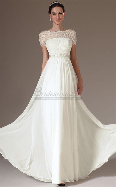 Bateau Neckline Chiffon , Lace White Long Bridesmaid Dress