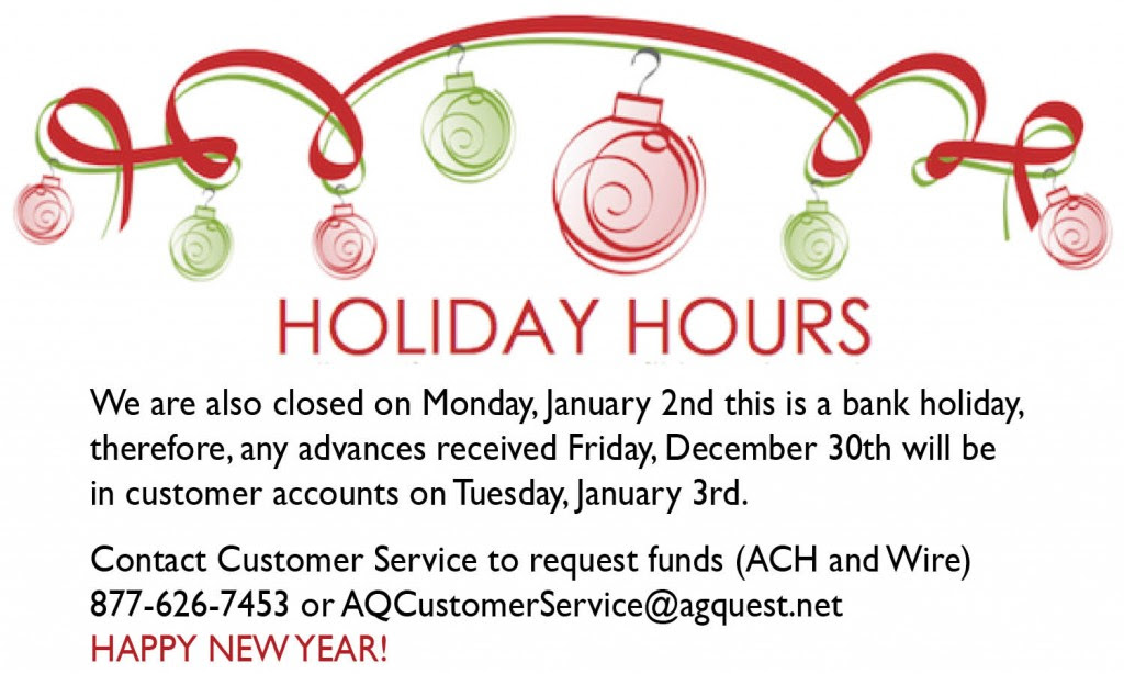 Holiday Hours | AgQuest Ag Financial Services and Ag Insurance