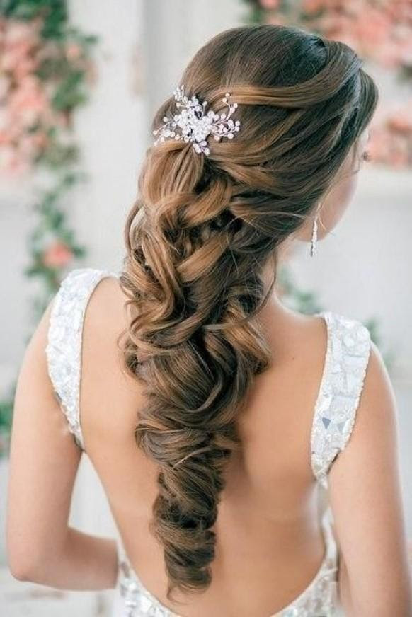 Half Up Half Down Curly Wedding Hairstyles With Silver Plated ...