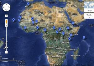 Map of known US military locations in Africa.