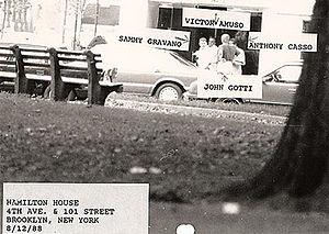 English: Surveillance photo of Mafia leaders J...