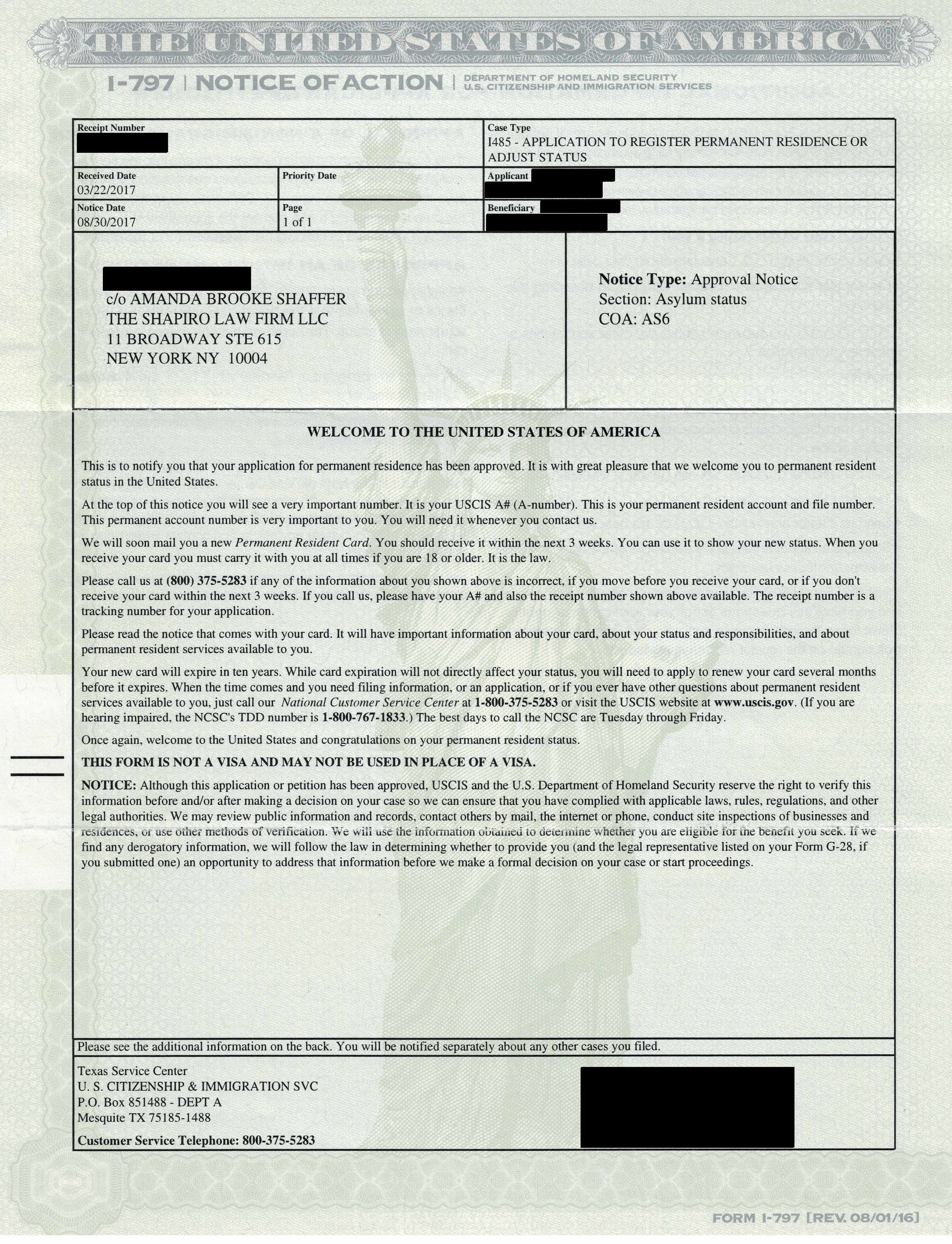 Case Status Update Approvals Asylee Green Card Vawa Green Card Work Permits Ead The Shapiro Law Firm Llc