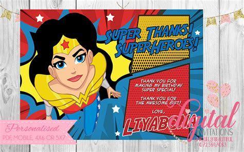 Wonder Woman Thank you Card ? Digital Invitations