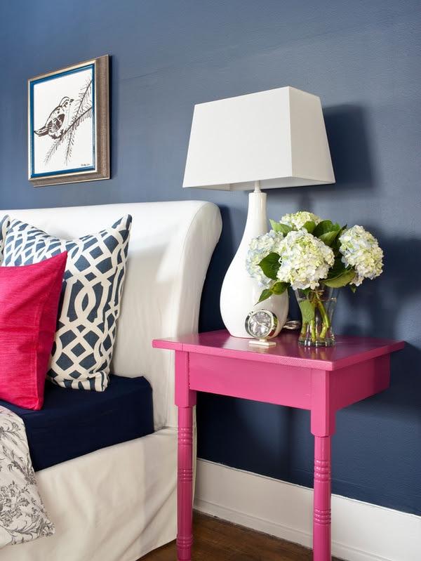 Navy & Pink Bedroom